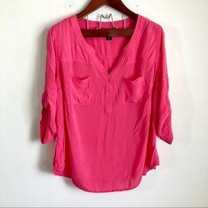 Torrid Pink Lightweight Blouse Top 3/4 Roll Tab